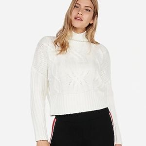 Express Cable Knit Turtleneck Semi Crop Sweater